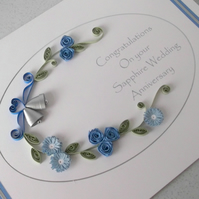 Quilled 45th anniversary card