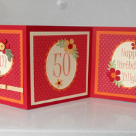 50th birthday card - 3 panel, quilling, can be personalised