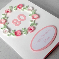 80th birthday card, personalised with your message