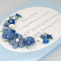 Sapphire 65th wedding anniversary card