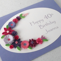 Quilled 40th birthday card