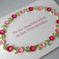 70th birthday card, paper quilling