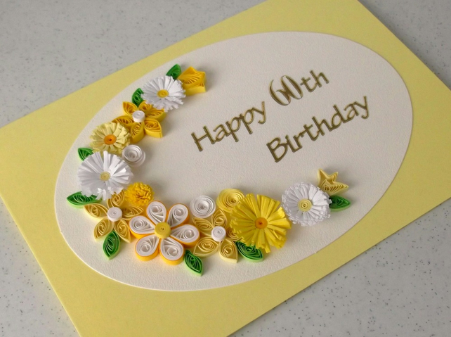 60th birthday card, quilled flowers, handmade, paper quilling