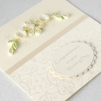 Wedding congratulations card, quilled