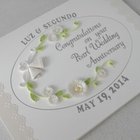 Handmade 30th pearl wedding anniversary card