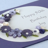 Quilled 50th birthday card