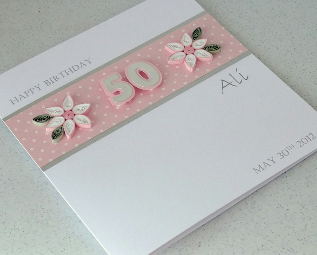 50th Birthday Card Paper Quilling