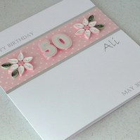 50th birthday card, paper quilling