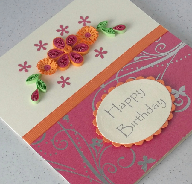 Quilled birthday card