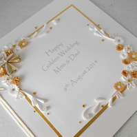 Golden 50th wedding anniversary card