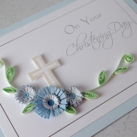 Christening card, baby boy