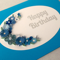 Birthday card, quilled, handmade