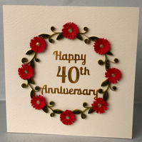 Quilled 40th anniversary card, ruby wedding, handmade