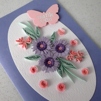 Thank you card, quilling flowers