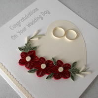 Beautiful quilled wedding congratulations card