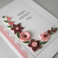 Quilled Mother's day card, handmade, flowers