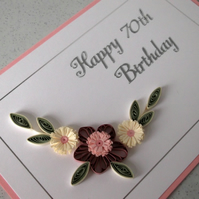 Quilled 70th birthday card