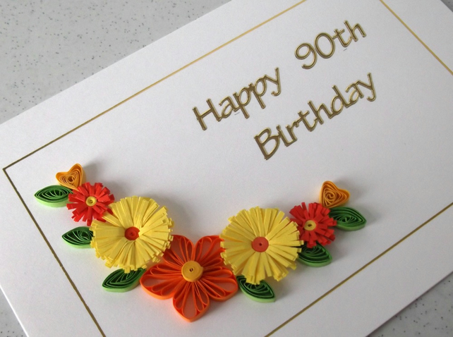 Quilled 90th birthday card