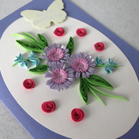 Birthday card, quilling flowers, handmade