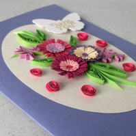 Thank you card, quilling flowers, handmade