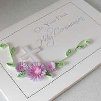First holy communion card, quilled