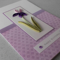 Quilled handmade birthday card, quilling iris