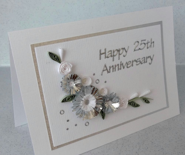 25th silver wedding anniversary card