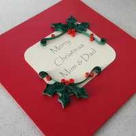 Handmade Christmas card, personalised