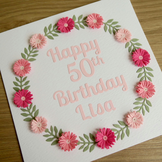50th birthday card - personalised with any age and name
