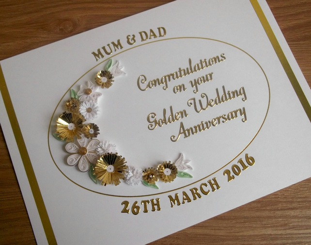 Handmade 50th golden wedding anniversary card