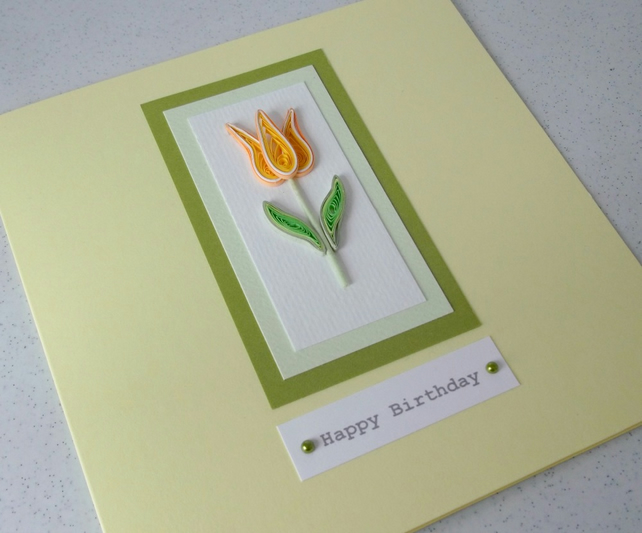 Quilled birthday card, handmade, quilling