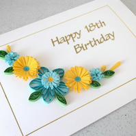 Quilled birthday card - 18th, 21st, 40th, 50th, 60th, 65th, 70th, 75th, 80th