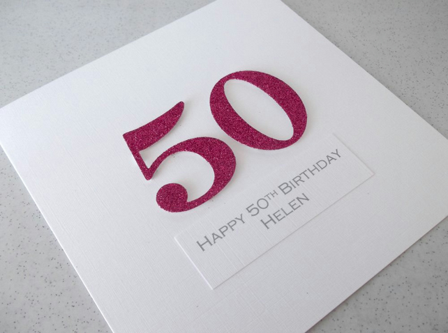 Handmade 50th birthday card - personalised with any age and message