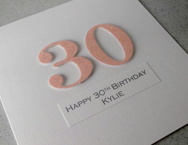 Handmade 30th birthday card - personalised with any age and message