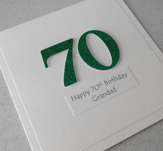 Handmade 70th Birthday Card Personalised With Any Age And Message