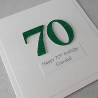 Handmade 70th birthday card - personalised with any age and message