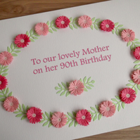 90th birthday card, paper quilling, mum