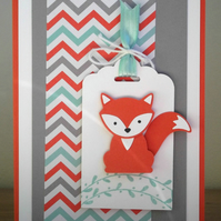 Handmade birthday card with fox