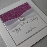Handmade 70th birthday card, grandma, personalised, any age or name