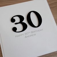 Handmade 30th male birthday card - personalised with any age and message