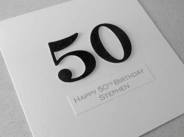 Handmade 50th male birthday card - personalised with any age and message
