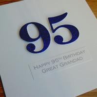 Handmade 95th male birthday card - personalised with any age and message