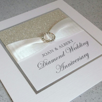 Handmade diamond wedding anniversary card, modern, designer