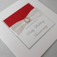 Handmade 40th ruby wedding anniversary card, modern, designer