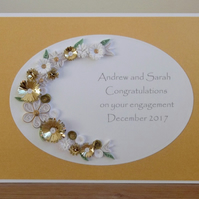 Handmade quilled engagement congratulations card