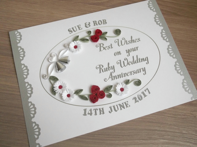 Handmade quilled ruby wedding anniversary card