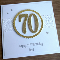 Handmade 70th male birthday card, dad - personalised with any age and message
