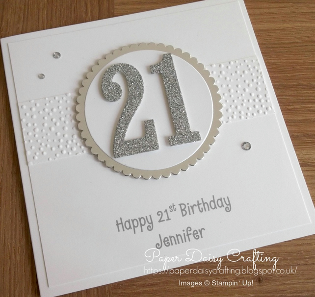 Handmade 21st birthday card, - personalised with any age, name and message