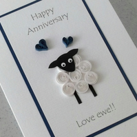 Anniversary card, love ewe, quilled sheep