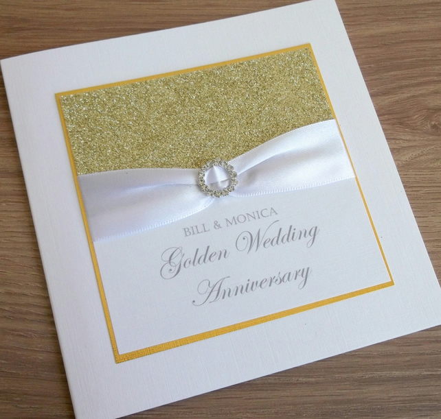 handmade 50th golden wedding anniversary card folksy